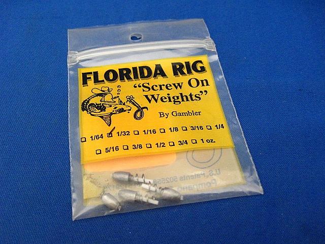 1 Gambler Florida Rig Screw On Weight 3//8 oz.